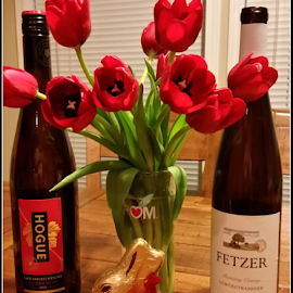 Wine, Flowers, and Chocolate by Mina Thompson - Instagram & Mobile Android ( holiday, wine, chocolate, red, chocolate bunny, tulips, flowers )