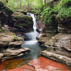 Amazing Hues Of Adams Falls by Gene Walls - Landscapes Forests ( stream, boulders, kitchen creek, waterfall, moss, ricketts glen state park rocks, rock, forest, ferns, ricketts glen, adams falls, nature, creek, falls, red rock )