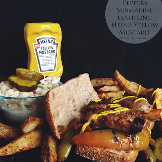 Sausage and Peppers Submarine with Steak Fries featuring Heinz Yellow Mustard?