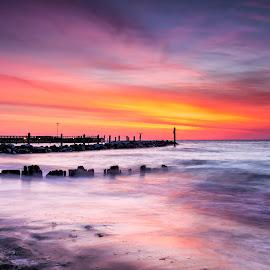 bring it on by Edward Kreis - Landscapes Sunsets & Sunrises ( singhray filters, dawn, colors, single shot, daryl benson rgnd, maryland, north beach, chesapeake bay, long exposure, sunrise, surf )