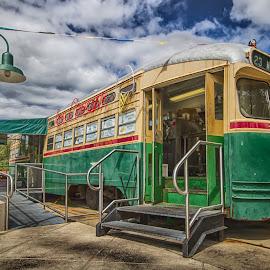 Ice Cream Trolly by Joe Alfano - Transportation Trains ( blue sky, trolly, green, street, ice cream, philadelphia )