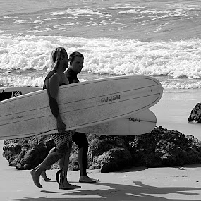 Off To Catch A Wave Or Two! by Joanne Draper - Novices Only Street & Candid ( sand, surfer, surfboard, sea, ocean, men, surf, rocks, man )