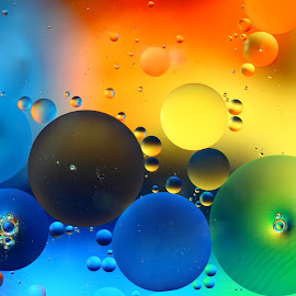 Oil Droplets by Pete Eley - Abstract Macro ( abstract, colourful, macro photography, oil art, water droplets,  )