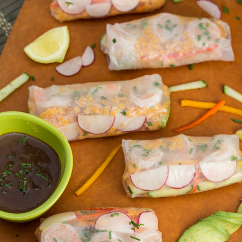 Shrimp + Red Lentil Summer Rolls with Hoisin-Bean Sauce