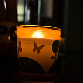 The Other Side by Meeta Thakur - Artistic Objects Still Life ( candle, quote, reflections, light, science )