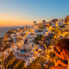 Santorini in the setting sun by Stanley P. - Landscapes Travel ( travel )
