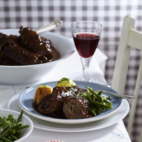 Beef Roulades with Potato Dumplings and Green Beans