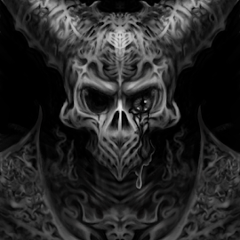 The Dragon Armor by Cameron VanAusdal - Illustration Sci Fi & Fantasy ( skull, sketch, horns, black and white )