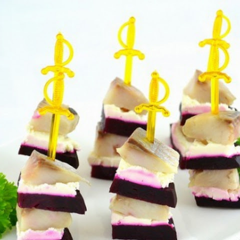 Beetroot And Herring Canapé