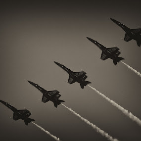 Blue Angels  by John Spain - Transportation Airplanes ( black and white, jet, airshow, blue angels )
