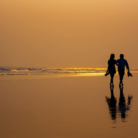 The walk by Sidharth Bisoyi - People Couples ( love, forever, prewedding, sunset, happy, couple, people )
