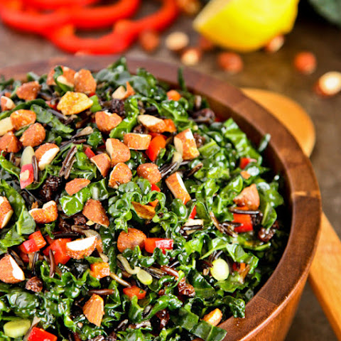 Kale and Wild Rice Salad with Chipotle Maple Almonds and Zingy Currants
