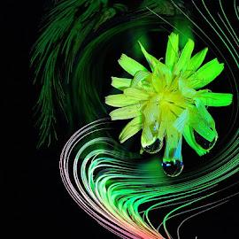 a flower in my dreamworld by Paul Wante - Digital Art Abstract ( dream, digital art, yellow, world, flower )