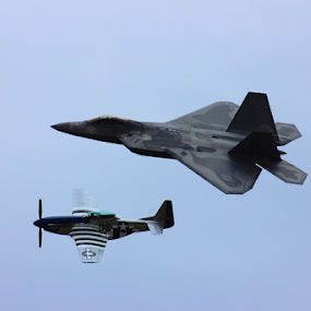 Heritage Flight: F22 Raptor and P-52 Mustang by Brianne Cronenwett - Transportation Airplanes ( f22 raptor, wwii, airplane, f22, heritage flight, heritage, tuscaloosa, mustang, p-52, raptor, jet, p-52 mustang, air show, airshow,  )