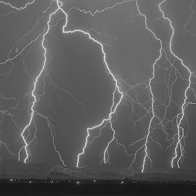 Lightning on the Superstition Mountains by Bryan Snider - Landscapes Weather ( storm chaser, tendrils, mountains, lightning, arizona lightning, monsoon, supersition, arizona, weather, storm chasing, phoenix,  )