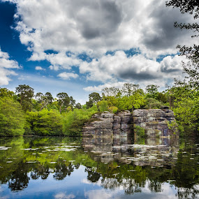by Martin Tyson - Landscapes Waterscapes ( water, plumpton, pool, trees, lake, rocks )