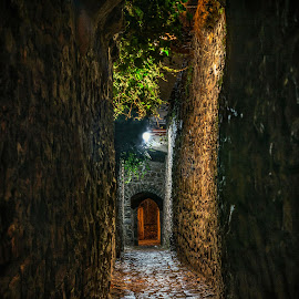 Aisle... by Martin Namesny - City,  Street & Park  Historic Districts ( old, walls, aisle, nighttime, mysterious, night )