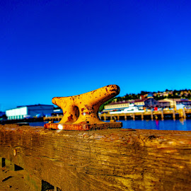 Cleat by Bob MacDonald - Artistic Objects Industrial Objects ( blue sky, pier, ship, cleat, dock, boat,  )