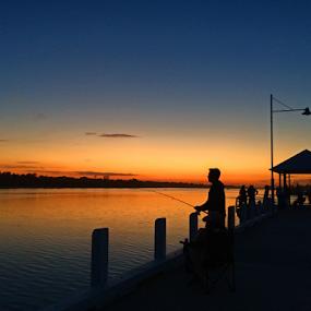 Sunset Fishing  by Kamila Romanowska - Instagram & Mobile iPhone ( sunset, australia, sport, fishing, relaxing, evening )