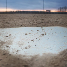 View from home plate during sunrise  by Sammy Saladino - Sports & Fitness Baseball ( home plate sunrise diamond park )