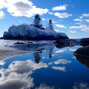 Hollow Rock Reflections by Sandra Updyke - Landscapes Waterscapes ( hollow rock, ice, reflections, north shore, lake superior )