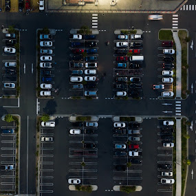 Aerial parking by Mark Luyt - City,  Street & Park  Street Scenes ( drone long exposure, parking lot, street, orderly, aerial )