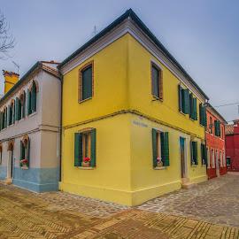 Yellow corner by Yordan Mihov - City,  Street & Park  Neighborhoods ( venezia, urban, red, corner, street, venice, burano, yellow, house )