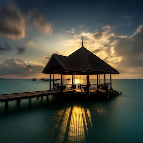 The Pier by Arthit Somsakul - Landscapes Waterscapes ( wood, blue, green, pier, ocean, bridge, maldives )