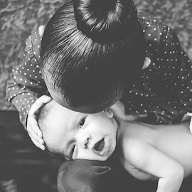 Kisses by Jenny Hammer - Babies & Children Babies ( black and white, big sis, baby, siblings, cute, boy )