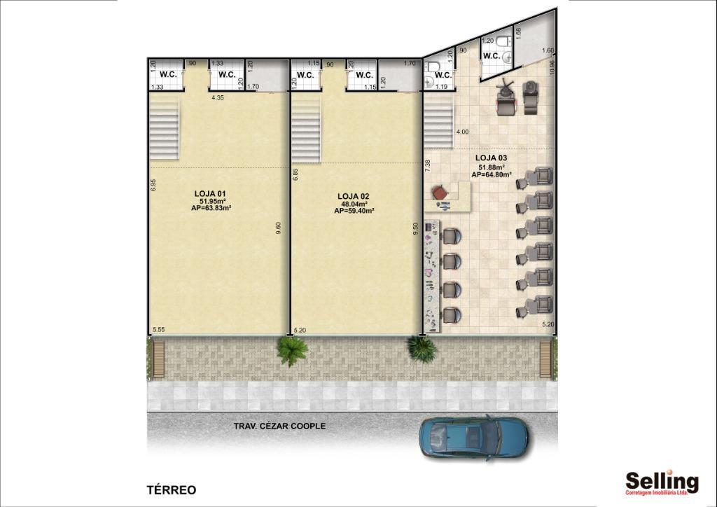 Loja para alugar, 64 m² por R$ 6.000/mês
