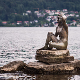 Waiting for the perfect man by Christian Tiboldi - Buildings & Architecture Statues & Monuments ( statue, waiting, lake, statue on the lake )