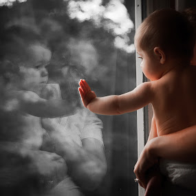 Baby Touch by Mike DeMicco - Babies & Children Babies ( love, babies, reflection, window, mommy, adorable, baby, cute, boy,  )