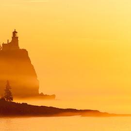 Golden Glow by Ben Podolak - Landscapes Sunsets & Sunrises ( split rock, fog, lighthouse, lake superior, golden )