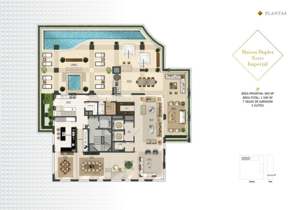 Planta Maison Duplex Pav Inferior da Torre Imperial