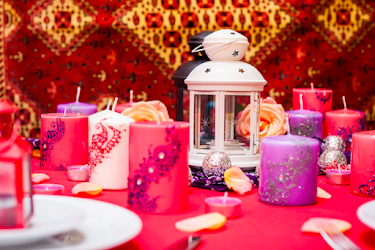 Lanterns and Candles can be used to create the perfect atmosphere at home or for striking event centrepieces