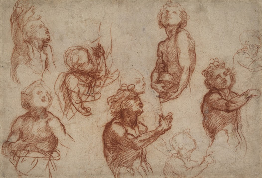Rather than responding to a piece of text, <b>Andrea del Sarto</b> brainstorms ideas for representing an action. The pointing gesture of the naturalistic looking youth suggests that it is probably a study for John the Baptist, commonly portrayed with a pointing finger because he had identified and borne witness to Christ.