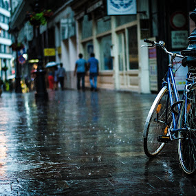 Bike in the rain by Péter Nagy - Transportation Bicycles ( bicycles, bike, rain )