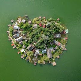 Small world by Péter Mocsonoky - City,  Street & Park  Vistas ( view, nature, island, buildings, grenn, relax. water. small, aerial, lake, drone )