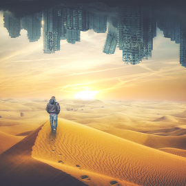Between two worlds by Gábor Veres - Digital Art Places ( two, desert, sundown, world, abandoned )