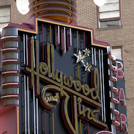 Hollywood and Vine  by Debbie Salvesen - Buildings & Architecture Public & Historical ( neon sign, street sign, hollywood and vine, california, hollywood, architectural detail, historical, architecture, classic,  )