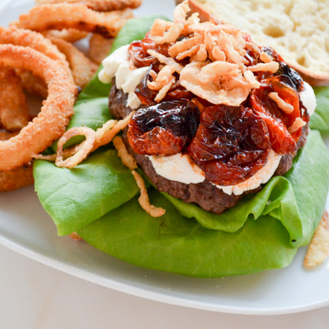 The Mega Goat Cheese and Slow Roasted Tomato Topped Burger