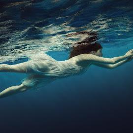 Free soul by Dmitry Laudin - People Fashion ( water, girl, fly, underwater, blue, dress, swim, white, bubbles, float, hair )