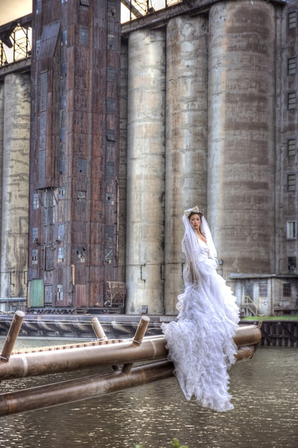 Grain Silo by Kristen VanDeventer Rice - Buildings & Architecture Other Exteriors ( urban, buffalo, hdr, dress, grain, white, bride, silo, decay )
