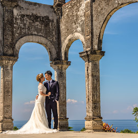 Summer time by Bobo Tandiono - Wedding Bride & Groom ( .old building. ocean, bride and groom )