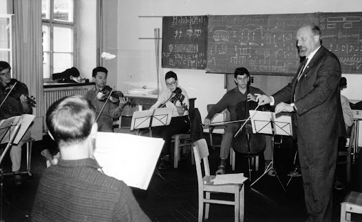 Matz conducts in a class at the Bayreuth festival in Bayreuth, Germany. Matz participated in this renowned music festival in the 1960s.