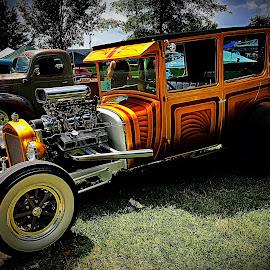 Hot Rod in Orange by Lorna Littrell - Transportation Automobiles ( old car, street car, hot rod, antique car )