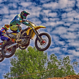 Life Is Fun ! by Marco Bertamé - Sports & Fitness Motorsports ( five hundred eighty-one, speed, 581, number, race, jump, two, clouds white, duo, sky, motocross, blue, air, duel, competition,  )