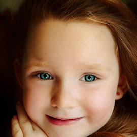 Thoughtful Blue by Cheryl Korotky - Babies & Children Child Portraits