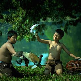 Playing with Birds by Syaiful Anwar - Babies & Children Children Candids