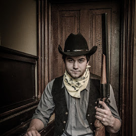 Contemplation in a Saloon corner by Florin Marksteiner - People Portraits of Men ( guns, cowboy, piano, sadness, saloon, shotgun, outlaw, wild west,  )